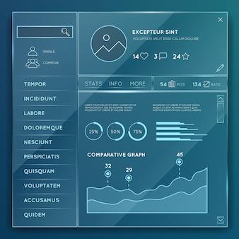 Szklane elementy strony internetowej szablony wektor zestaw. przycisk projektu elementu, wykres internetowy i wykres