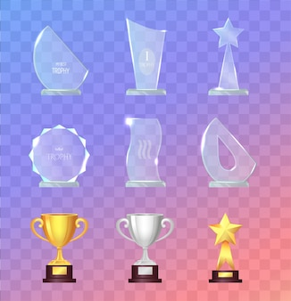 Szklane i metalowe sportowe trofea i puchary