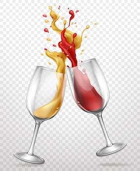 Szklane kielichy z bryzgami wina realistyczne