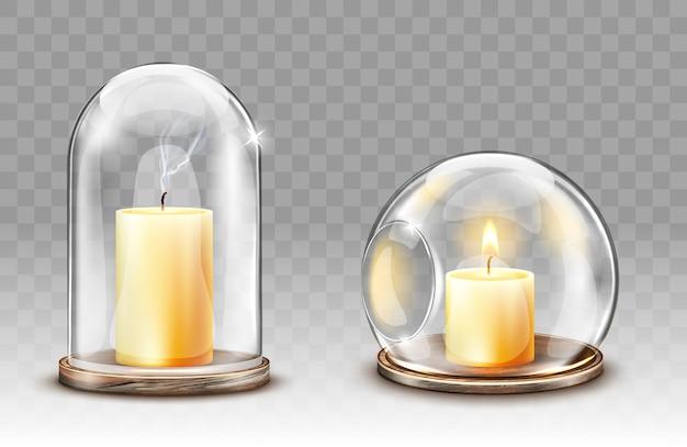 Szklane kopuły z otworem, realistyczny świecznik