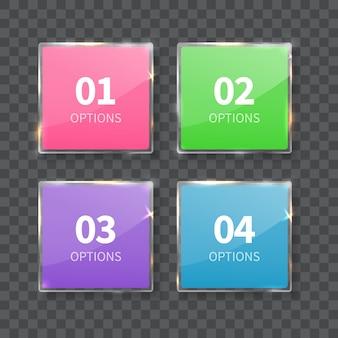 Szklane kwadraty liczby ustawione na białym tle na szarym tle. liczba opcji.