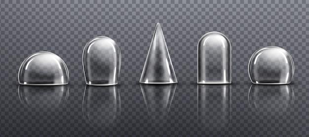 Szklane lub przezroczyste plastikowe kopuły o różnych kształtach