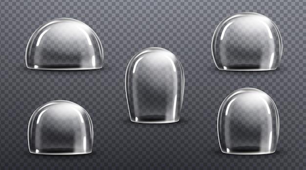 Szklane lub przezroczyste plastikowe kopuły. wektor realistyczna makieta pustej osłony ochronnej, akrylowy słoik dzwonkowy