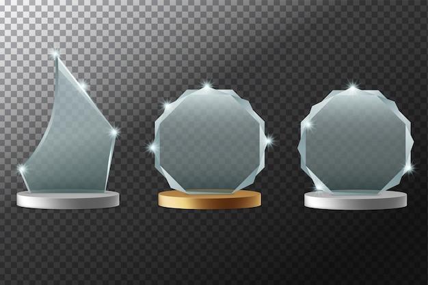 Szklane nagrody realistyczne ilustracji wektorowych