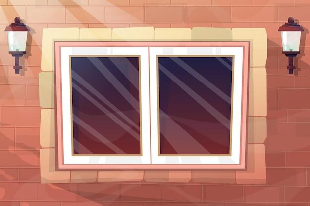 Szklane okno i lampa elektryczna na ceglanej ścianie ze światłem słonecznym