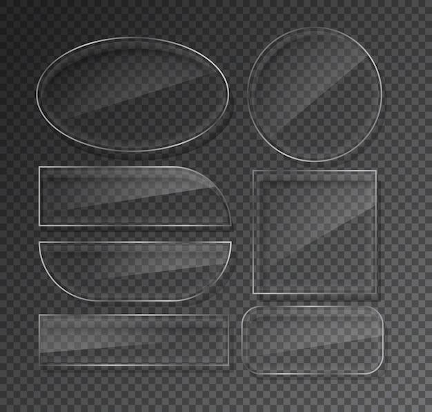 Szklane płytki ustawione na przezroczystym