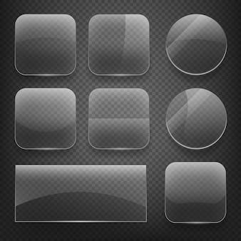 Szklane przyciski kwadratowe, prostokątne i okrągłe na tle kratkę. szkło błyszczące, puste szkło, puste okrągłe szkło, błyszczący szklany przycisk, prostokątne przezroczyste szkło. zestaw ikon ilustracji wektorowych