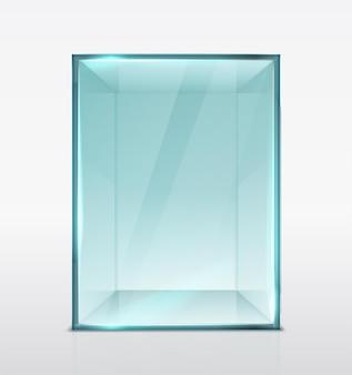 Szklane pudełko kostka do prezentacji izolowane przezroczyste