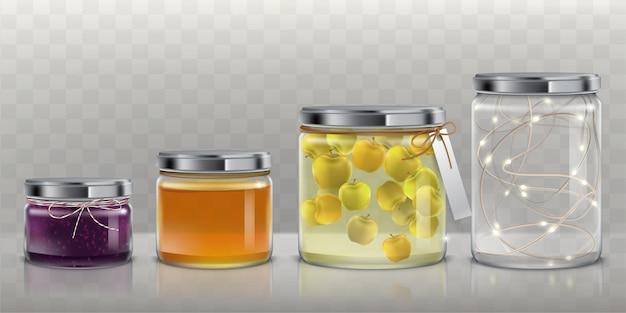 Szklane słoiki z żywnością i wianek zestaw wektora