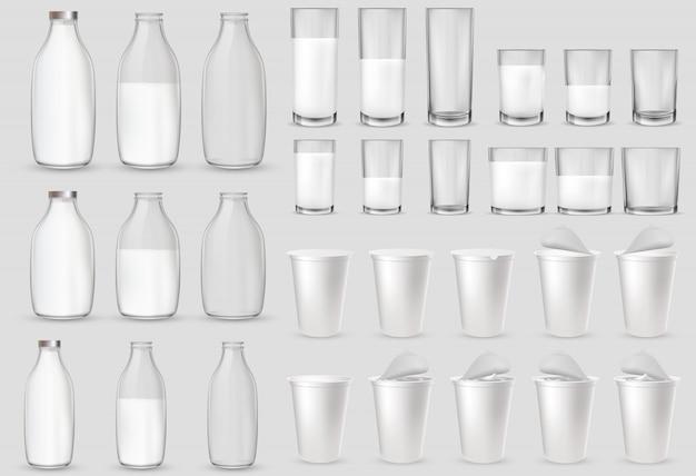 Szklane szklanki, butelki, plastikowe kubki, opakowania