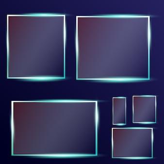 Szklane talerze ustawiają szklane banery na przezroczystym tle