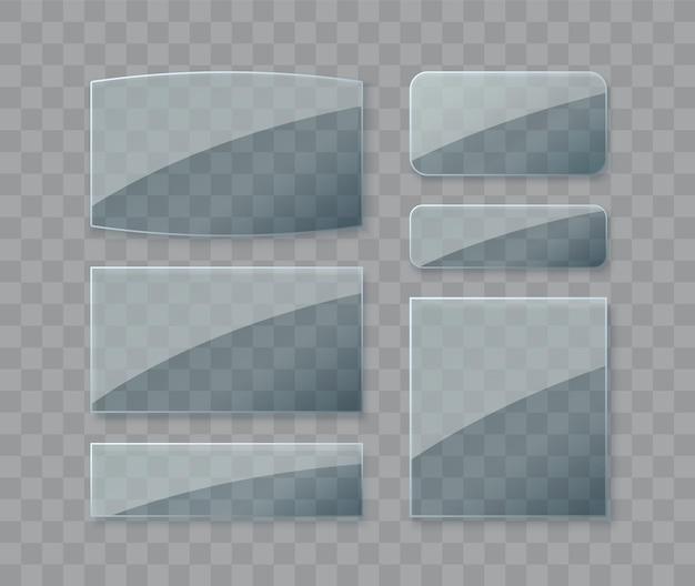 Szklane talerze ustawiają szklane banery wektorowe na przezroczystym tle