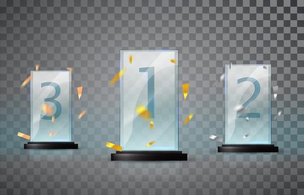 Szklane trofeum na przezroczystym tle. zestaw filiżanek - pierwsze, drugie i trzecie miejsce.