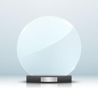 Szklane trofeum nagrody na białym tle ilustracja
