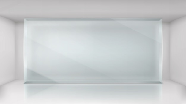 Szklanej ściany rama w pustym powystawowym izbowym tle