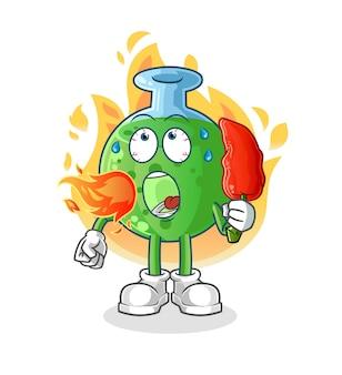 Szklanka chemiczna zjada gorącą maskotkę chilli