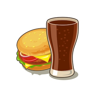 Szklanka coli i hamburgera z mięsem sałata ser pomidor izolowany na białym wektor płaski ikona