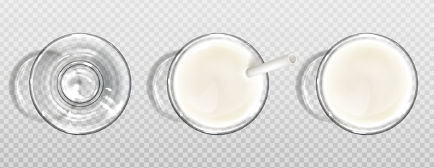 Szklanka mleka z papieru słomy widok z góry