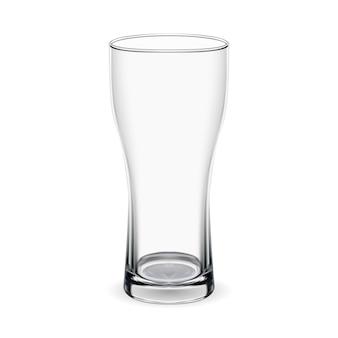 Szklanka piwa. makieta na białym tle czara. przezroczysty