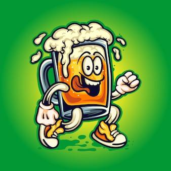 Szklanka piwa maskotka kreskówka ładny ilustracje wektorowe do pracy logo, koszulka z towarem maskotka, naklejki i projekty etykiet, plakat, kartki okolicznościowe reklamujące firmę lub marki.