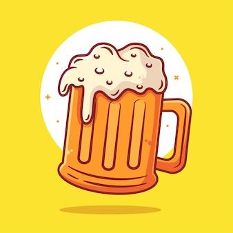 Szklanka piwa z pianką ilustracja na białym tle napój logo wektor ikona ilustracja w stylu płaski