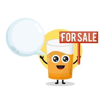 Szklanka soku na sprzedaż urocza maskotka postaci