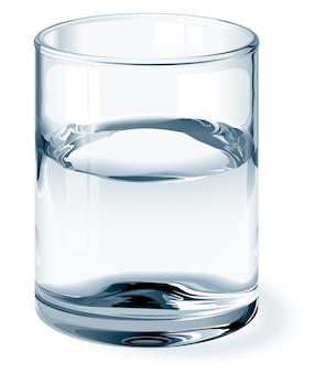 Szklanka wody na białym tle. jeden globalny kolor szkła i trzy kolory płynu. używane gradienty. bez siatki.