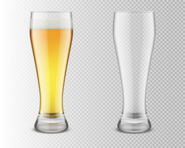 Szklanki do piwa, pełne i puste. realistyczna ilustracja na przezroczystym tle