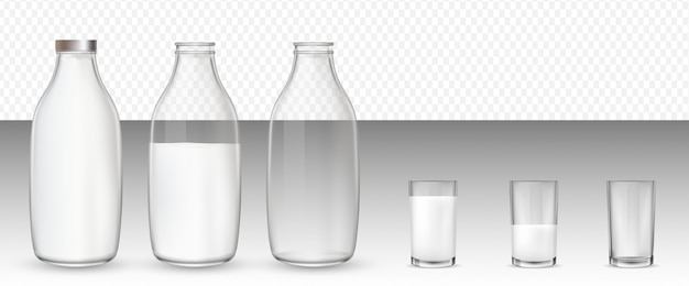 Szklanki i butelki, mleko.