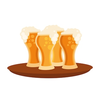 Szklanki piwa na projekt tacy, browar bar alkoholowy pub pić piwo i lager tematu ilustracji wektorowych