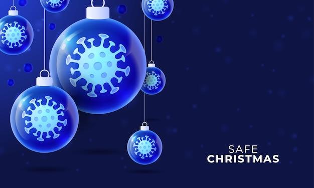 Szklany baner świąteczny koronawirusa