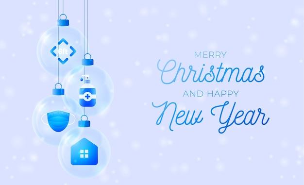 Szklany baner świąteczny z koronawirusem. koncepcja bożego narodzenia lub nowego roku