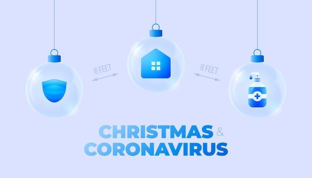 Szklany baner świąteczny z koronawirusem