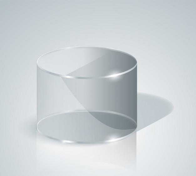 Szklany cylinder. przezroczysty cylinder. odosobniony.