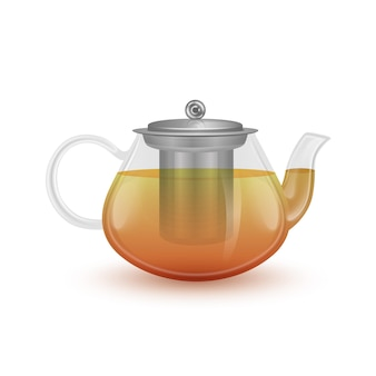 Szklany Czajniczek Z Czarną Herbatą. Premium Wektorów