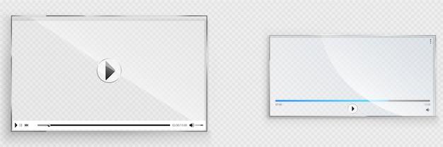 Szklany interfejs odtwarzacza wideo, przezroczyste okno