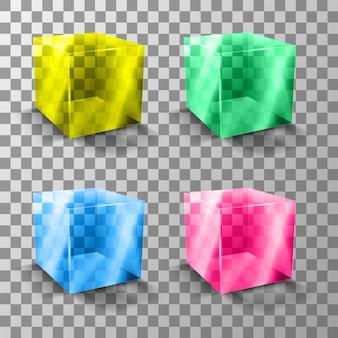Szklany kolorowy przezroczysty sześcian. prezentacja nowego produktu.