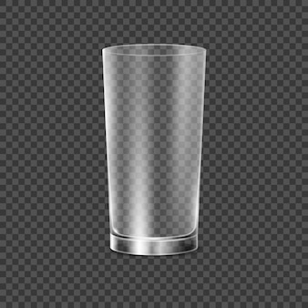 Szklany kubek do picia. ilustracja przezroczystego szkła. obiekt restauracyjny do picia alkoholu, wody lub innego płynu. pusty kryształowy realistyczny szklany kubek.