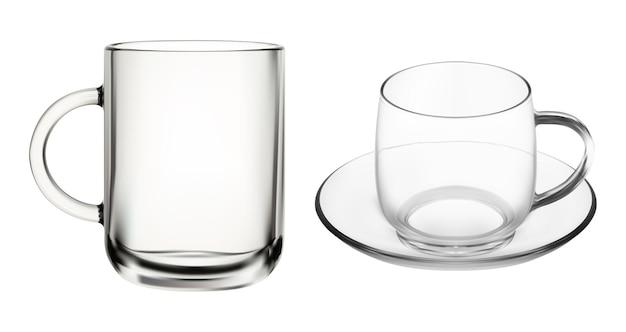 Szklany kubek. przezroczyste filiżanki do kawy, na białym tle