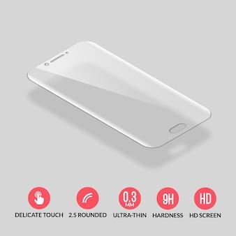 Szklany ochraniacz ekranu do ilustracji smartfona