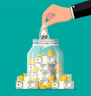 Szklany słoik na pieniądze pełen złotych monet i banknotów. oszczędność monety dolara w skarbonce. wzrost, dochody, oszczędności, inwestycje. symbol bogactwa. sukces w interesach. ilustracja wektorowa płaski.