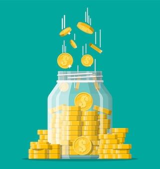 Szklany słoik na pieniądze pełen złotych monet. oszczędność monety dolara w skarbonce. wzrost, dochody, oszczędności, inwestycje. symbol bogactwa. sukces w interesach. ilustracja wektorowa płaski.