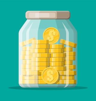 Szklany słoik pieniędzy pełen złotych monet. zapisywanie monety dolara w skarbonce. wzrost, dochód, oszczędności, inwestycje. symbol bogactwa. sukces w interesach. ilustracja wektorowa płaski.