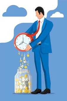 Szklany słoik pieniędzy, złote monety banknoty spadające z zegarów. zapisywanie monety dolara w skarbonce. wzrost dochodów, oszczędności, inwestycje. bankowość, czas to pieniądz. sukces w biznesie bogactwa. płaska ilustracja wektorowa