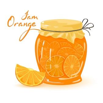 Szklany słoik wypełniony kwaśno-słodkim owocem pomarańczy, słodkim karmelizowanym deserem.