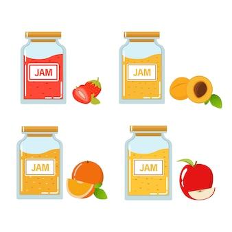 Szklany słoik z dżemem truskawkowym, morelowym, jabłkowym i pomarańczowym.