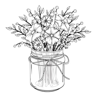Szklany słoik z kwiatami. wiosenny bukiet.