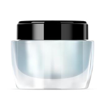 Szklany słój kremowy. makieta luksusowego pojemnika kosmetycznego