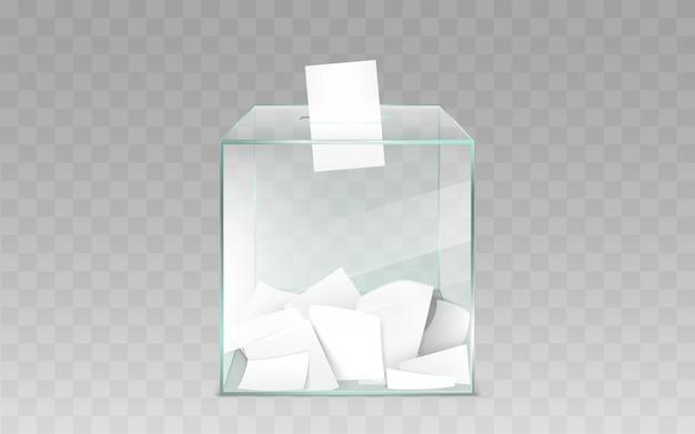 Szklany tajnego głosowania pudełko z kart do głosowania wektorowymi
