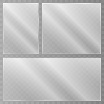 Szklany talerz. faktura akrylu i szkła z odblaskami i światłem realistyczne przezroczyste szklane okno w prostokątnej ramie. wektor